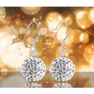 ピアス スワロフスキー クリスタルボール Silver Solid 925 Sterling Silver Women's Wedding Bridal Crystal Ball Earring IE33|aurora-and-oasis