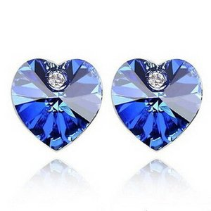 ピアス スワロフスキー ハートサファイアブルー Blue White Gold Plated Sapphire Blue Crystals Wedding Bridal Heart Stud Earring XE28|aurora-and-oasis