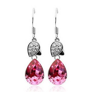 ピアス スワロフスキー ティアドロップピンク Pink 18K White Gold Filled PINK Crystal Teardrop Dangle Wedding Earring XE52|aurora-and-oasis