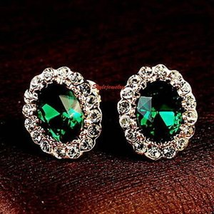 ピアス スワロフスキー オーバルエメラルドグリーン Green Women Emerald Green Made with Swarovski Crystal Birthstone Stud Earring XE118|aurora-and-oasis
