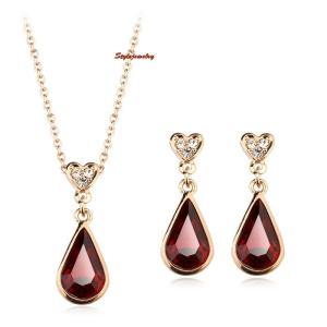 ジュエリーセット スワロフスキー ティアドロップレッド Red Rose Gold Plated Red Ruby Teardrop Made with Swarovski Crystal Wedding Set XS5|aurora-and-oasis