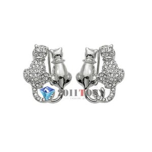 ピアス スワロフスキー カップルキャット Lovely Cat Stud Earrings Jewelry 18K White Gold Plated Swarovski Crystal EA85W1|aurora-and-oasis