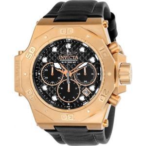 腕時計 インヴィクタ インビクタ メンズ Invicta Men's Akula Chrono 300m 14k Rose Gold S. Steel/Black Leather Watch 23104|aurora-and-oasis