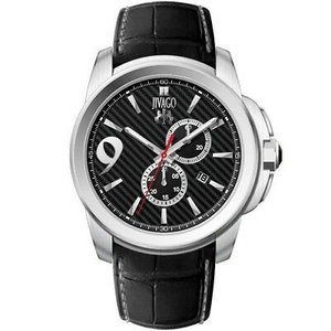 腕時計 ジバゴ メンズ Jivago Men's Gliese Chrono 100m Stainless Steel/Black Leather Watch JV1517 aurora-and-oasis