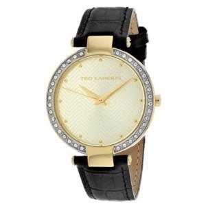 腕時計 テット ラピドス レディース Ted Lapidus Women's Classic Quartz Stainless Steel/Black Leather Watch A0732PTPN|aurora-and-oasis