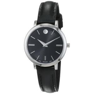 腕時計 モバード レディース Movado Women's Ultra Slim Swiss Quartz Stainless Steel/Black Leather Watch 60709|aurora-and-oasis
