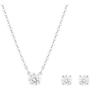 ジュエリーセット スワロフスキー ラウンドクリア Swarovski Solitaire Crystals Rhodium Plated Necklace and Earrings Set 5113468|aurora-and-oasis
