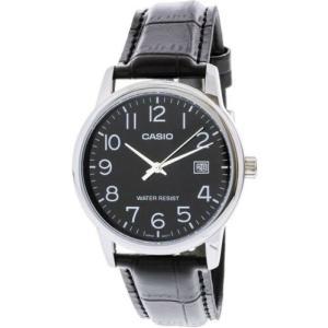 腕時計 カシオ メンズ Casio Men's Quartz Stainless Steel/Black Leather Watch MTPV002L-1B|aurora-and-oasis