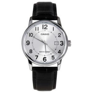腕時計 カシオ メンズ Casio Men's Analog Quartz Stainless Steel Black Leather Watch MTPV002L-7B|aurora-and-oasis