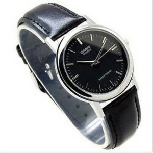 腕時計 カシオ メンズ Casio Men's Classic Black Dial Black Leather Watch MTP1095E1A|aurora-and-oasis