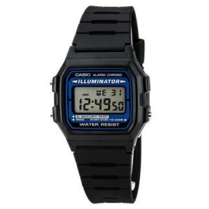 腕時計 カシオ メンズ Casio Men's Illuminator Alarm Chrono Digital Black Resin Watch F105W-1A|aurora-and-oasis