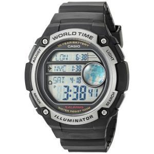 腕時計 カシオ メンズ Casio Men's Illuminator Digital 100m 10-Yr Battery Black Resin Watch  AE3000W-1A|aurora-and-oasis