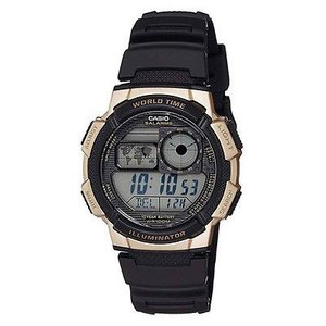 腕時計 カシオ メンズ Casio Men's Digital 100m Quartz Resin Black/Gold Watch AE1000W-1A3|aurora-and-oasis