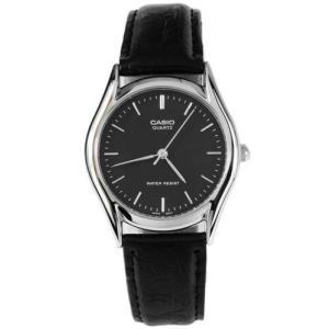 腕時計 カシオ メンズ Casio Men's Analog Quartz Stainless Steel Black Leather Watch MTP1094E-1A|aurora-and-oasis