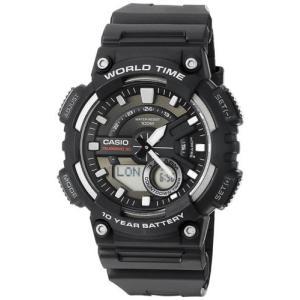 腕時計 カシオ メンズ Casio Men's Ana-Digi Quartz 100m World Time Black Resin Watch AEQ110W-1AV|aurora-and-oasis