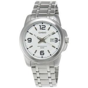 腕時計 カシオ メンズ Casio Men's Silver Stainless-Steel Quartz Watch with White Dial MTP1314D-7AV|aurora-and-oasis