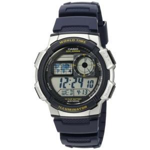 腕時計 カシオ メンズ Casio Men's Digital 100m 10-Year Battery Silver/Blue Resin Watch AE1000W-2AV|aurora-and-oasis