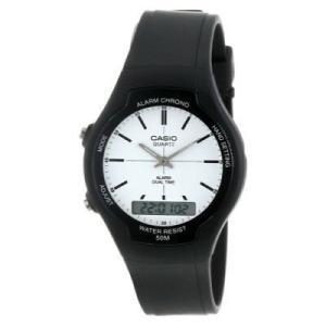 腕時計 カシオ メンズ Casio Men's Dual Time Analog-Digital Quartz Black Rubber Watch AW90H-7E|aurora-and-oasis