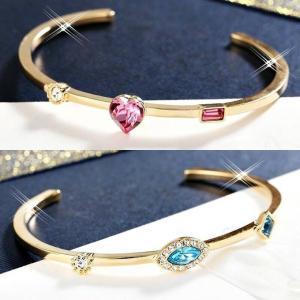 バングル スワロフスキー ハートマーキス ピンクブルー Blue / Pink 18K Gold GF Made With Swarovski Crystal MarquiseCut/Heart Exquisite Cuff Bangle|aurora-and-oasis
