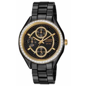 腕時計 シチズン レディース Citizen Eco-Drive Women's FD1068-53E Swarvoski Crystal Bezel Black Watch|aurora-and-oasis