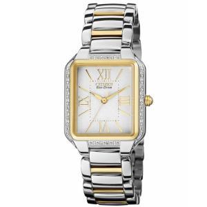 腕時計 シチズン レディース Citizen Eco-Drive Women's EM0194-51A Diamond Bezel Two Tone Watch|aurora-and-oasis