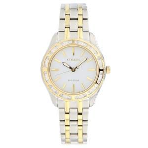 腕時計 シチズン レディース Citizen Eco-Drive Women's EM0244-55A Carina Diamond Bezel Two Tone 29mm Watch|aurora-and-oasis