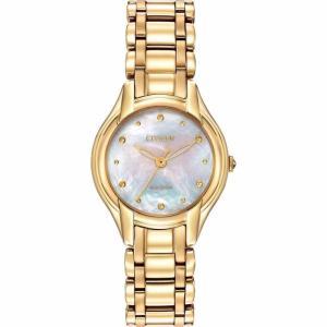 腕時計 シチズン レディース Citizen Eco-Drive Women's EM0282-56D Silhouette Gold Tone Watch|aurora-and-oasis