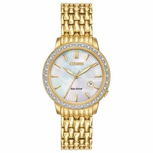 腕時計 シチズン レディース Citizen Eco-Drive Women's EW2282-52D Diamond Accents Gold-Tone 29mm Dress Watch|aurora-and-oasis