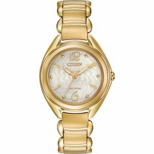 腕時計 シチズン レディース  Citizen Eco-Drive Women's FE2072-89A Gold Tone Floral Motif Dial Bracelet Watch|aurora-and-oasis