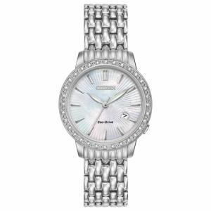 腕時計 シチズン レディース Citizen Eco-Drive Women's EW2280-58D Diamond Accents Silver-Tone 29mm Watch|aurora-and-oasis