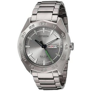 腕時計 シチズン メンズ Citizen Eco-Drive Men's AW0060-54A Titanium Silver Tone Bracelet 44mm Watch|aurora-and-oasis