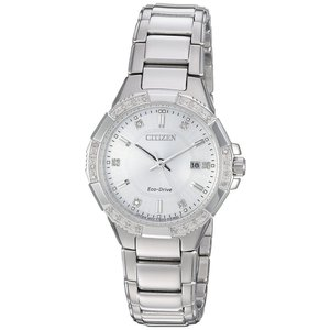 腕時計 シチズン レディース Citizen Eco-Drive Women's EW2460-56A Riva Diamond Accents Silver-Tone 30mm Watch|aurora-and-oasis