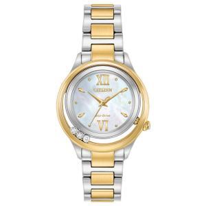 腕時計 シチズン レディース Citizen Sunrise Women's Diamond Accents Two-Tone Bracelet Watch EM0514-52D|aurora-and-oasis