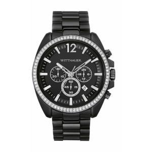 腕時計 ウィットナー メンズ Wittnauer Men's WN3028 Quartz Chronograph Black Dial Crystal Accents 44mm Watch aurora-and-oasis