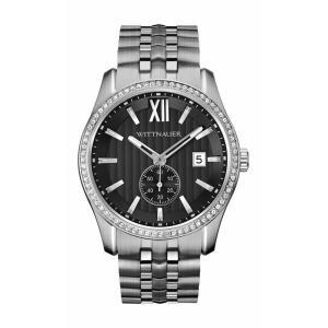 腕時計 ウィットナー メンズ Wittnauer Men's WN3031 Quartz Crystal Accents Black Dial Silver-Tone 43mm Watch aurora-and-oasis