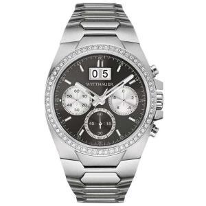 腕時計 ウィットナー メンズ Wittnauer Men's WN3049 Quartz Chronograph Crystal Accents Silver-Tone 41mm Watch aurora-and-oasis