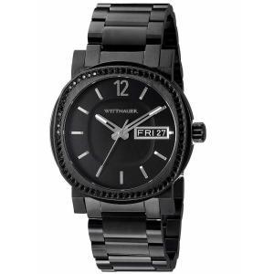 腕時計 ウィットナー メンズ Wittnauer Men's WN3050 Crystal Accented Quartz Black Bracelet 42mm Watch aurora-and-oasis