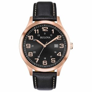 腕時計 ブローバ メンズ Bulova Men's 97B164 Quartz Rose Gold Tone Case Black Leather Strap 42mm Watch|aurora-and-oasis