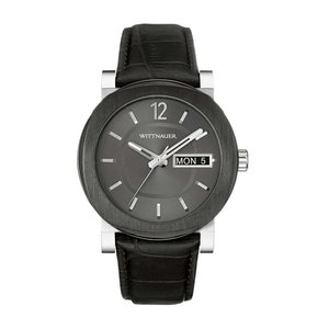 腕時計 ウィットナー メンズ Wittnauer Men's WN1000 Gunmetal Dial Day/Date Black Leather Strap 42mm Watch aurora-and-oasis