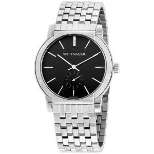 腕時計 ウィットナー メンズ Wittnauer Men's WN3067 Quartz Black Dial Silver-Tone Bracelet 42mm Watch aurora-and-oasis