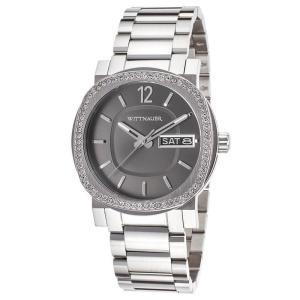 腕時計 ウィットナー メンズ Wittnauer Men's WN3002 Quartz Crystal Accents Silver-Tone Bracelet 42mm Watch aurora-and-oasis