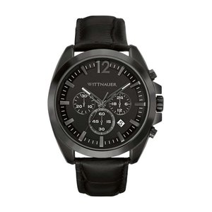腕時計 ウィットナー メンズ Wittnauer Men's WN1010 Quartz Chronograph Black Leather Strap 44mm Watch aurora-and-oasis