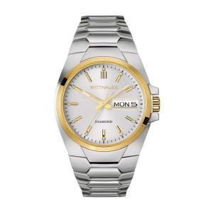 腕時計 ウィットナー メンズ Wittnauer Men's WN3045 Brody Quartz Gold-Tone Accent Silver-Tone 48mm Watch aurora-and-oasis