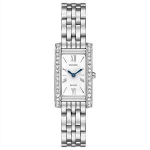 腕時計 シチズン レディース Citizen Eco-Drive Women's EX1470-51A Crystal Accents Silver-Tone 17mm Watch|aurora-and-oasis