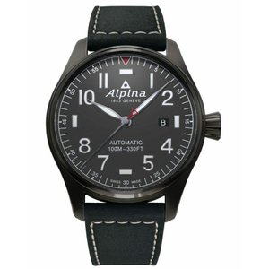 腕時計 アルピナ メンズ Alpina Startimer Men's AL-525G4TS6 Automatic Black Leather Strap 44mm Watch|aurora-and-oasis