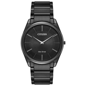 腕時計 シチズン メンズ Citizen Eco-Drive Stiletto Men's Guilloche Dial Black 38mm Watch AR3075-51E|aurora-and-oasis