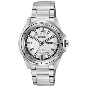腕時計 シチズン メンズ Citizen Eco-Drive Men's AW0031-52A Day/Date Silver-Tone Bracelet 43mm Watch|aurora-and-oasis