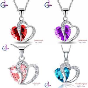 ネックレス スワロフスキー クリスタルハート シルバー Collana argento Swarovski Elements originale G4Lov cristallo cuore donna ragazza GN03 aurora-and-oasis