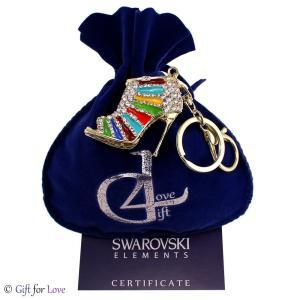 キーリング スワロフスキー ヒール Portachiavi oro donna Swarovski Elements originale G4Love scarpa tacco cristalli GK04|aurora-and-oasis