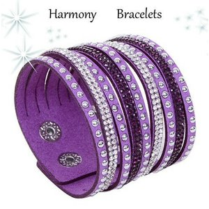 ブレスレット スワロフスキー パープル Purple Bracelet ea4B Cuff7|aurora-and-oasis